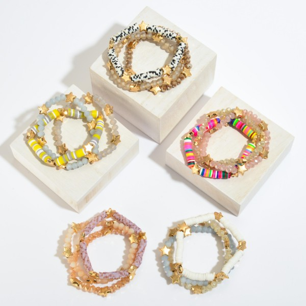 "3 PC Rubber Heishi Beaded Star Stretch Bracelet Set in Gold.  - 3 PC Per Set - Approximately 3"" in Diameter"