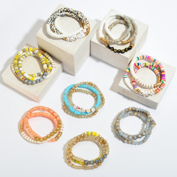 """3 PC Rubber Heishi Beaded Fearless Stretch Bracelet Set.  - 3 PC Per Set - Approximately 3"""" in Diameter"""