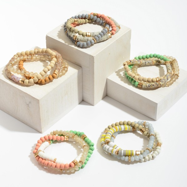 """3 PC Rubber Heishi Wood Beaded Stretch Bracelet Set.  - 3 PC Per Set - Bead Size 4mm - Approximately 3"""" in Diameter"""