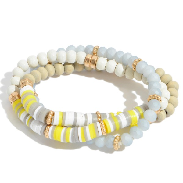 "3 PC Rubber Spacer Wood Beaded Stretch Bracelet Set.  - 3 PC Per Set - Bead Size 4mm - Approximately 3"" in Diameter"