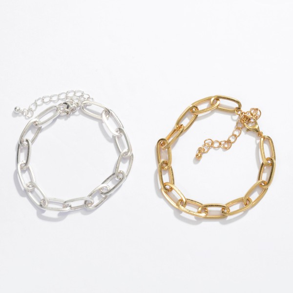 "Oval Chain Link Bracelet.  - Approximately 3"" in Diameter - 3.5"" Adjustable Extender"