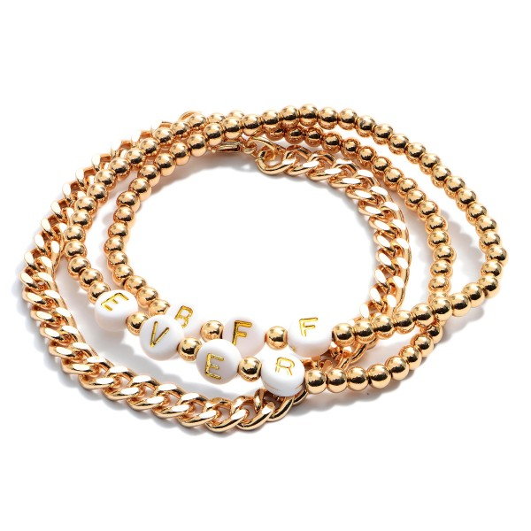 "3 PC BFF Beaded Chain Link Stretch Bracelet Set.  - 3 PC Per Set - 2 Stretchy Strands; 1 Chain Link Strand  - Approximately 3"" in Diameter"