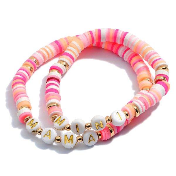 "2 PC Rubber Heishi Beaded Mama Mini Stretch Bracelet Set.  - 2 PC Per Set - Approximately 3"" in Diameter"