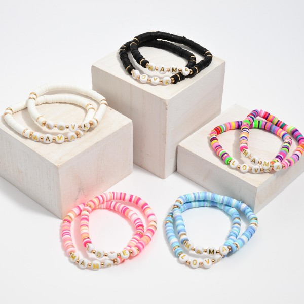 "2 PC Rubber Heishi Beaded Mama/Love Stretch Bracelet Set.  - 2 PC Per Set - Approximately 3"" in Diameter"