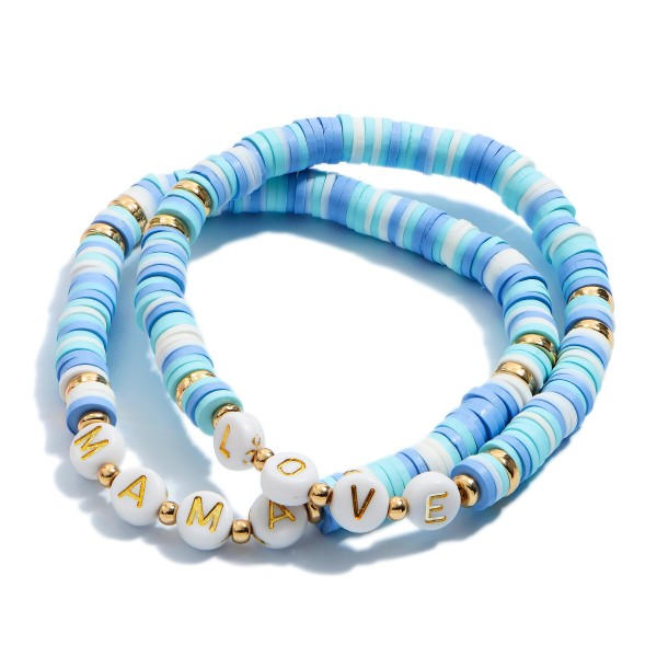 "2 PC Rubber Heishi Beaded Mama/Love Stretch Bracelet Set.  - 2 PC Per Set - Approximately 3"" in Diameter"