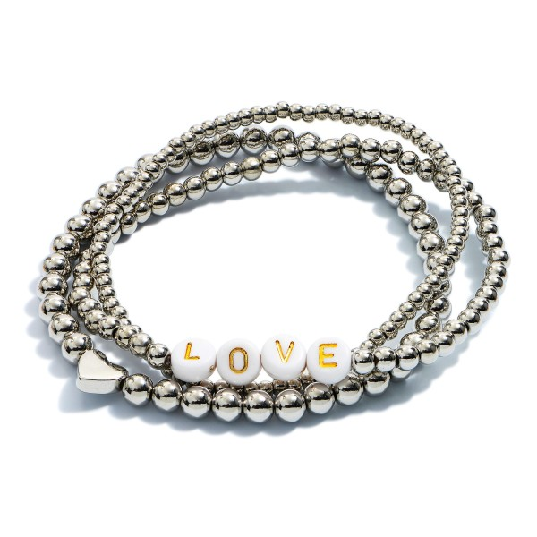 "3 PC Beaded Love Heart Stretch Bracelet Set.  - 3 PC Per Set - Approximately 3"" in Diameter"