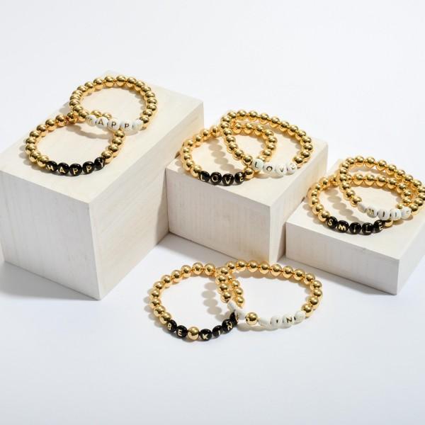 "Happy Pisa Beaded Stretch Bracelet in Gold.  - Bead Size 7mm - Approximately 3"" in Diameter"