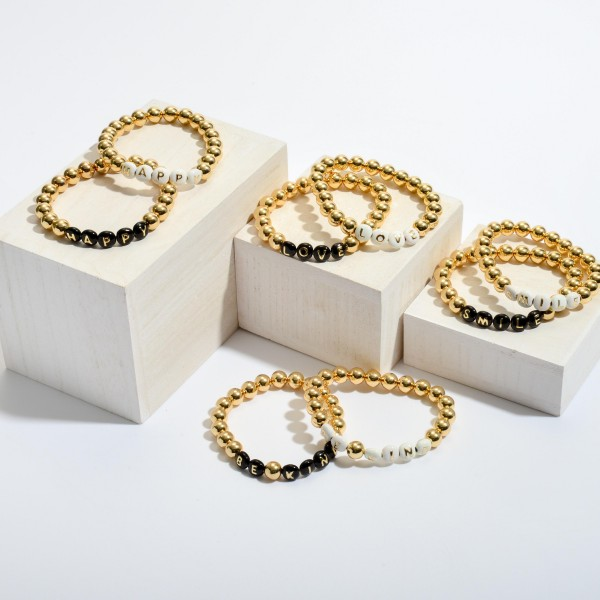 "Love Pisa Beaded Stretch Bracelet in Gold.  - Bead Size 7mm - Approximately 3"" in Diameter"