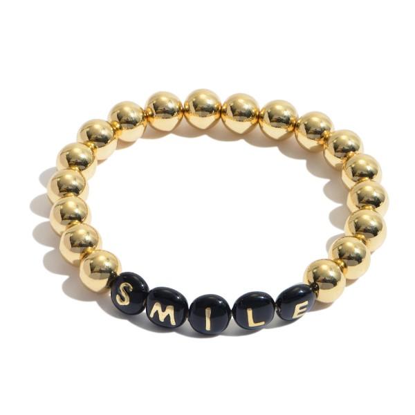"Smile Pisa Beaded Stretch Bracelet in Gold.  - Bead Size 7mm - Approximately 3"" in Diameter"