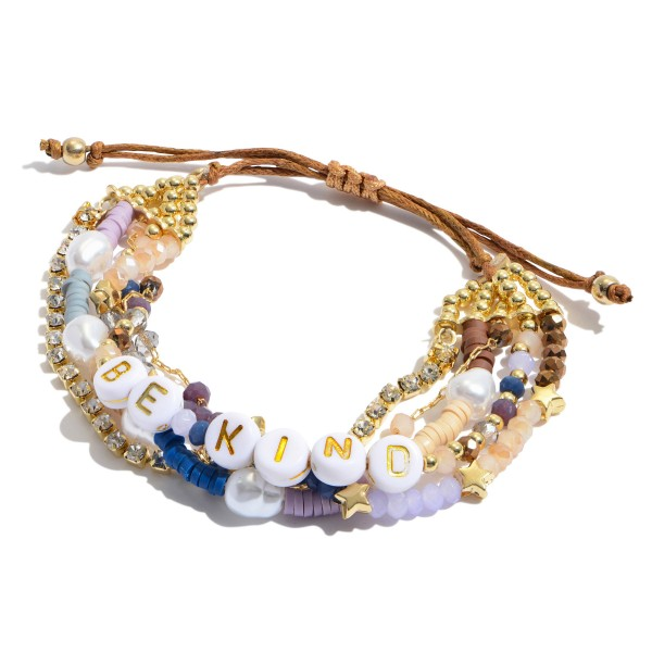 "Multi Beaded Be Kind Pearl Bolo Bracelet.  - Adjustable Bolo Closure - Approximately 3"" in Diameter"
