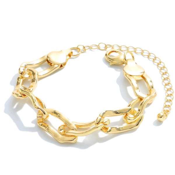 "Chain Link Bracelet in Gold.  - Approximately 3"" in Diameter - 3"" Adjustable Extender"