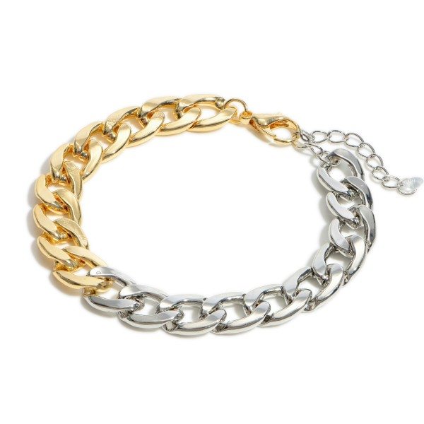 """Two Tone Curb Chain Bracelet.  - Approximately 3"""" in Diameter - 1.5"""" Adjustable Extender"""