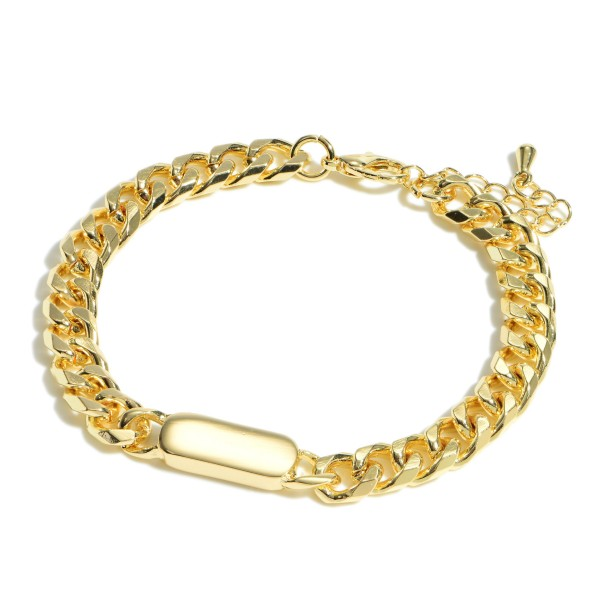 """Curb Chain Bar Bracelet.  - Approximately 3"""" in Length - 1"""" Adjustable Extender"""