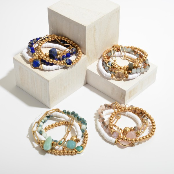 """4 PC Semi Precious Rubber Heishi Beaded Chain Stretch Bracelet Set.  - 4 PC Per Set - Stretchy Featuring Metal Chain  - Approximately 3"""" in Diameter"""