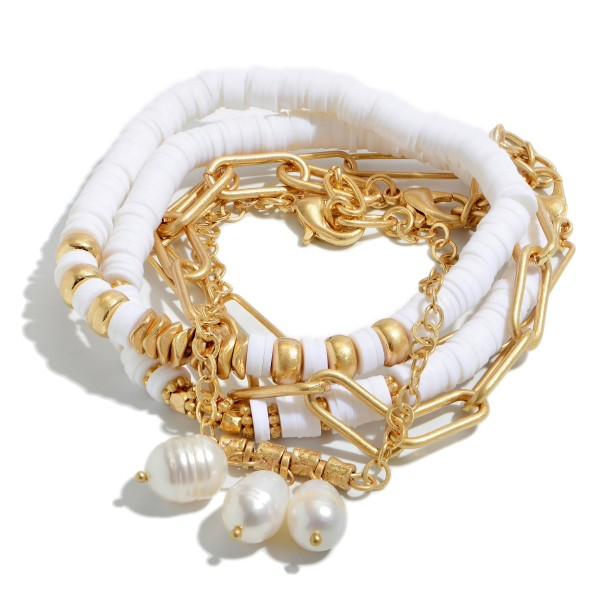 6 PC Rubber Heishi Beaded Chain Link Pearl Bracelet Set.  - 6 PC Per Set - Pearl's 7mm  - Combination of Stretchy & Metal Chains - Approximately 3' in Diameter