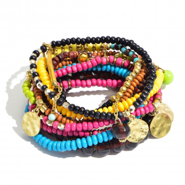 "10 PC Multicolor Wood Beaded Jingle Charm Stackable Stretch Bracelet Set.  - 10 PC Per Set - Approximately 3"" in Diameter"