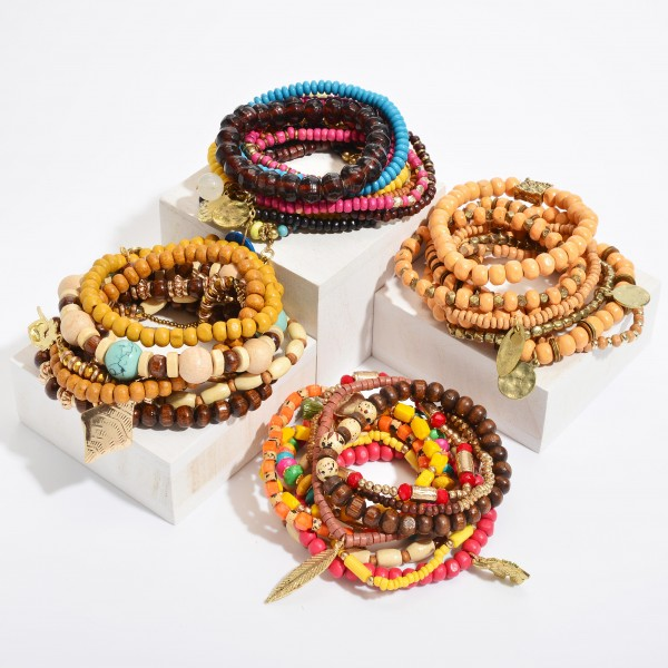 "10 PC Multicolor Wood Beaded Jingle Charm Stackable Stretch Bracelet Set.  - 10 PC Per Set - Approximately 3"" in Diameter"
