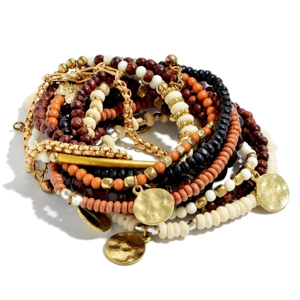 "10 PC Natural Wood Beaded Jingle Charm Stackable Stretch Bracelet Set.  - 10 PC Per Set - Approximately 3"" in Diameter"