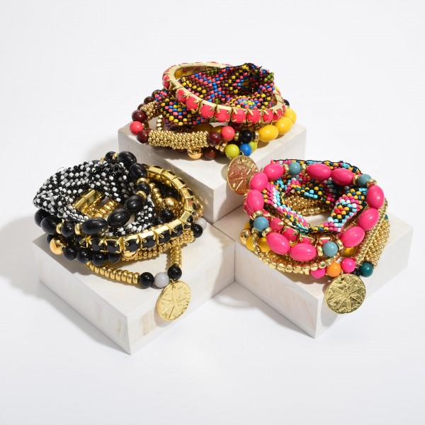 "7 PC Multi Beaded Boho Loom Stackable Stretch Bracelet Set.  - 7 PC Per Set - Approximately 3"" in Diameter"