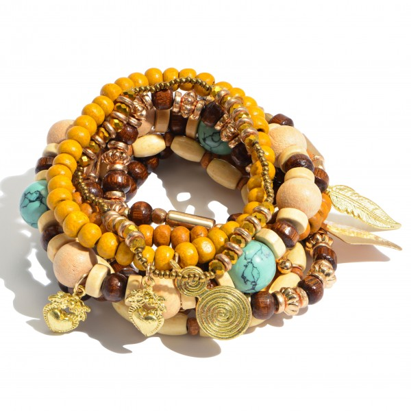 8 PC Multi Wood Beaded Stackable Charm Stretch Bracelet Set.  - 8 PC Per Set - Approximately 3' in Diameter