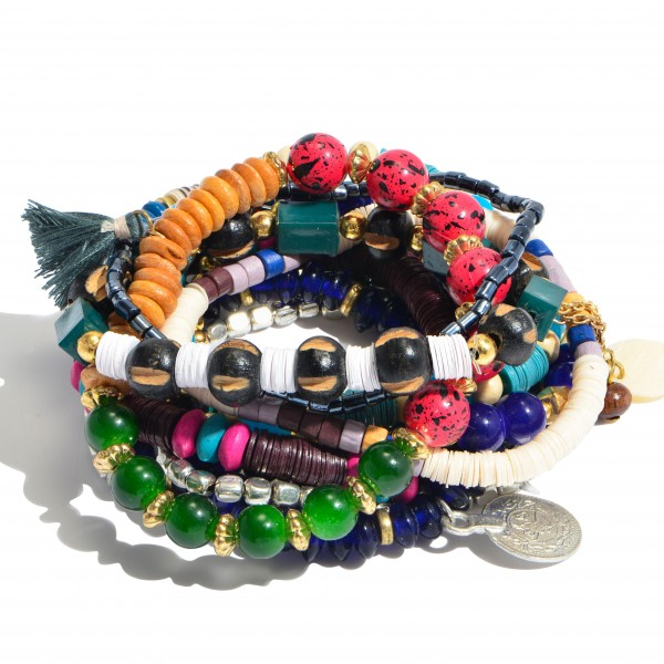 11 PC Multi Beaded Sequin Stackable Charm Stretch Bracelet Set.  - 11 PC Per Set - Approximately 3' in Diameter