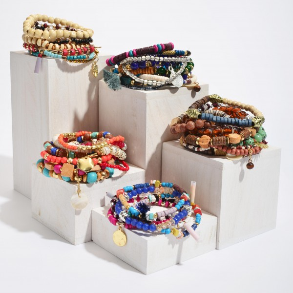 """10 PC Multi Wood Beaded Stackable Charm Stretch Bracelet Set.  - 10 PC Per Set - Approximately 3"""" in Diameter"""