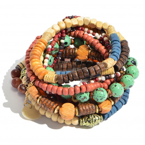 "11 PC Multi Wood Beaded Stackable Charm Stretch Bracelet Set.  - 11 PC Per Set - Approximately 3"" in Diameter"