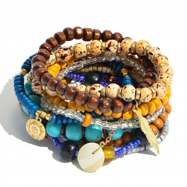 11 PC Multi Wood Beaded Boho Charm Stackable Stretch Bracelet Set.  - 11 PC Per Set - Approximately 3' in Diameter