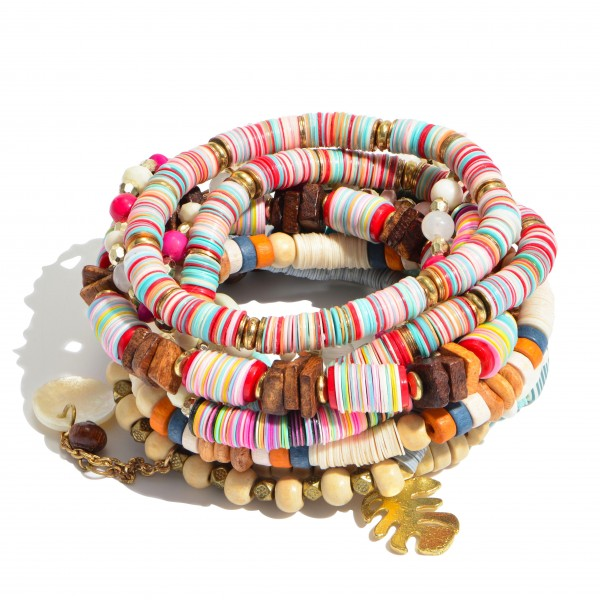 """11 PC Multi Heishi Sequin Beaded Stackable Charm Stretch Bracelet Set Featuring Wood Accents.  - 11 PC Per Set - Approximately 3"""" in Diameter"""