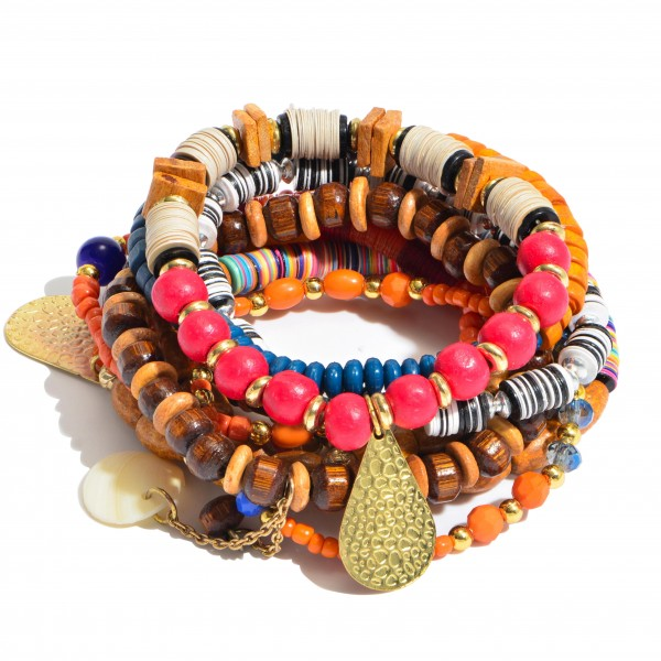 """10 PC Multi Wood Beaded Heishi Sequin Charm Stackable Stretch Bracelet Set.  - 10 PC Per Set - Approximately 3"""" in Diameter"""