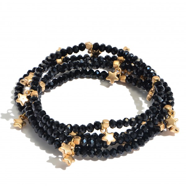"5 PC Beaded Stackable Star Stretch Bracelet Set.  - 5 PC Per Set - Approximately 3"" in Diameter"