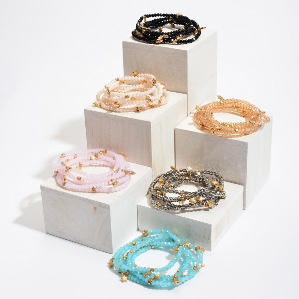 """5 PC Beaded Stackable Star Stretch Bracelet Set.  - 5 PC Per Set - Approximately 3"""" in Diameter"""