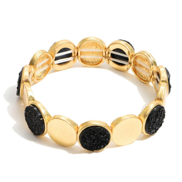 "Metal Druzy Stretch Bracelet in Gold.  - Approximately 3"" in Diameter"