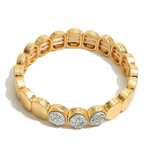 "Metal Druzy Stretch Bracelet in Gold.  - Approximately 3"" in Diameter"