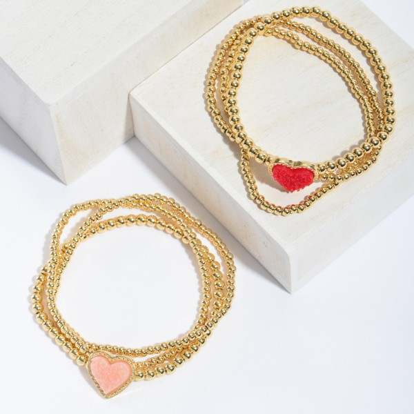 "3 PC Beaded Druzy Heart Stretch Bracelet Set in Gold.  - 3 PC Per Set - Approximately 3"" in Diameter"