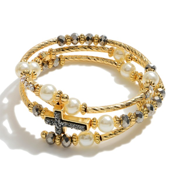 "Beaded Druzy Cross Wrap Bracelet Featuring Pearl Details.  - Focal .75""  - Approximately 3"" in Diameter"