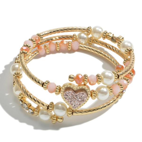 "Druzy Heart Beaded Wrap Bracelet Featuring Pearl Details.  - Approximately 3"" in Diameter"