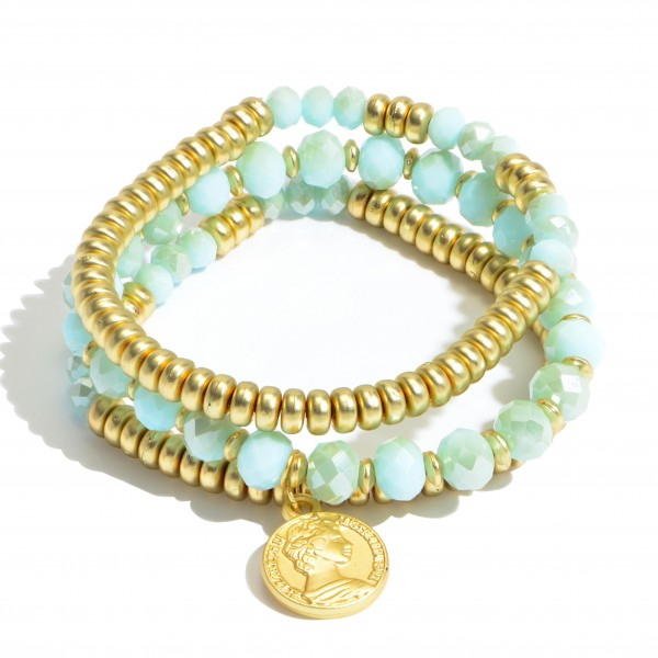 """3 PC Beaded Coin Stretch Bracelet Set.  - 3 PC Per Set - Approximately 3"""" in Diameter"""