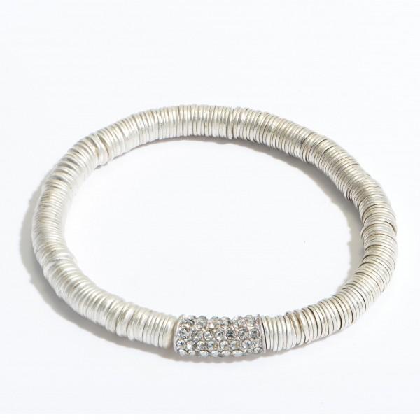 "Metal Spacer Beaded Rhinestone Stretch Bracelet.  - Approximately 3"" in Diameter"
