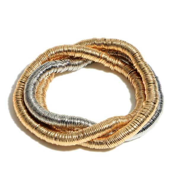 Wholesale pC Metal Heishi Beaded Stretch Bracelet PC Per Set Diameter