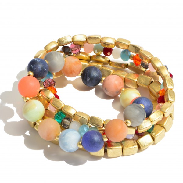 "5 PC Multi Semi Precious Beaded Stackable Stretch Bracelet Set.  - 5 PC Per Set - Approximately 3"" in Diameter"