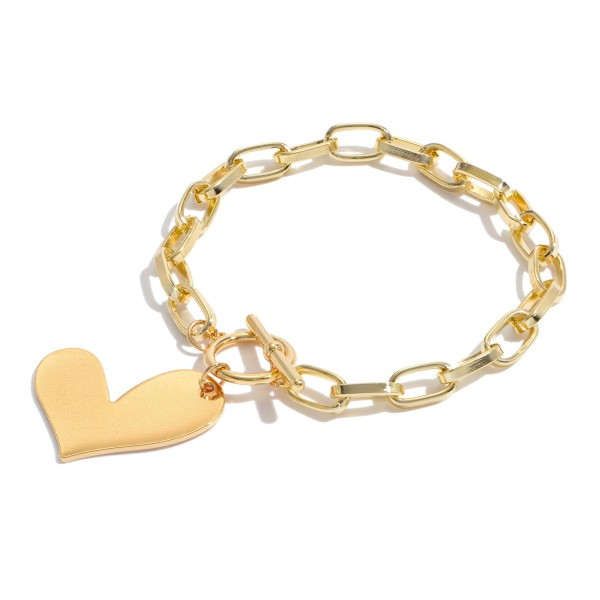 "Chain Link Toggle Bar Heart Charm Bracelet.  - Heart Charm 1.25""  - Approximately 3"" in Diameter"