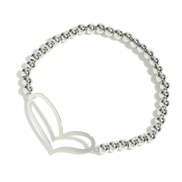 "Beaded Heart Stretch Bracelet.  - Focal 1.25""  - Approximately 3"" in Diameter"