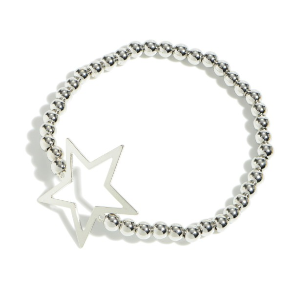"Beaded Star Stretch Bracelet.  - Focal 1.25""  - Approximately 3"" in Diameter"