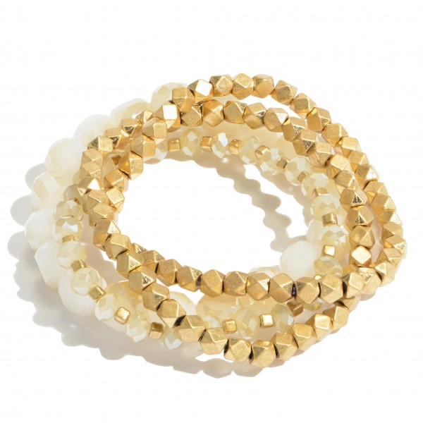 "4 PC Faceted Beaded Stackable Stretch Bracelet Set.  - 4 PC Per Set - Bead Sizes: 3mm, 5mm, 9mm - Approximately 3"" in Diameter"