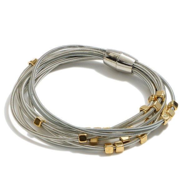 """Two Tone Beaded Springy Cord Magnetic Bracelet.  - Magnetic Closure - Approximately 3"""" in Diameter"""