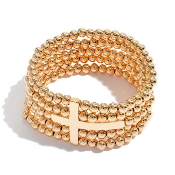 "Beaded Cross Stretch Bracelet Set.  - 5 Strands  - Cross Focal 1.5""  - Approximately 3"" in Diameter"