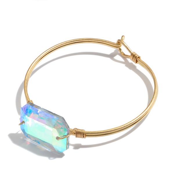 "Crystal Bangle Bracelet in Gold.  - Focal 1""  - Approximately 3"" in Diameter"