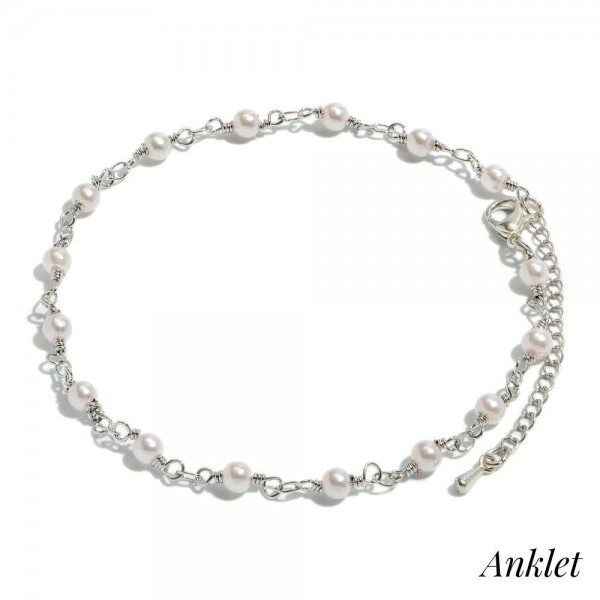 "Pearl Beaded Chain Anklet in Silver.  - Approximately 4"" in Diameter  - 2"" Adjustable Extender"