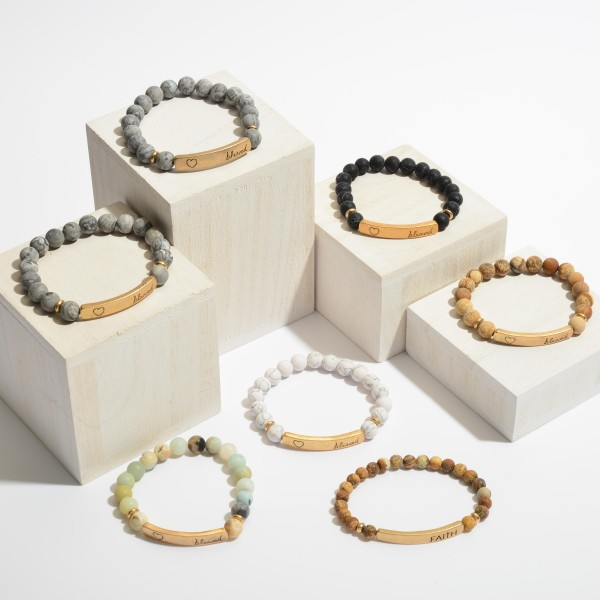 """Natural Stone Beaded """"Blessed"""" Stretch Bracelet.  - Focal 1.5""""  - Bead Size: 7mm - Approximately 3"""" in Diameter"""